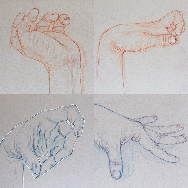 Realist hand drawings