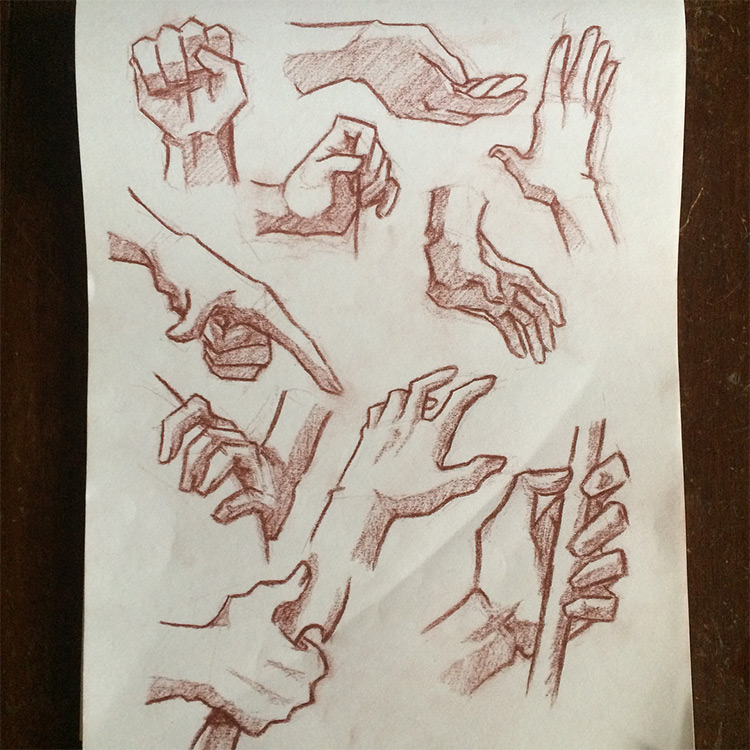 More hand pose drawings