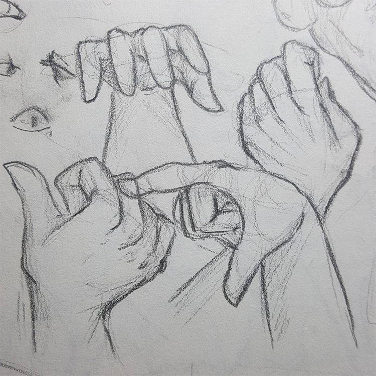 Rough drawings of hands