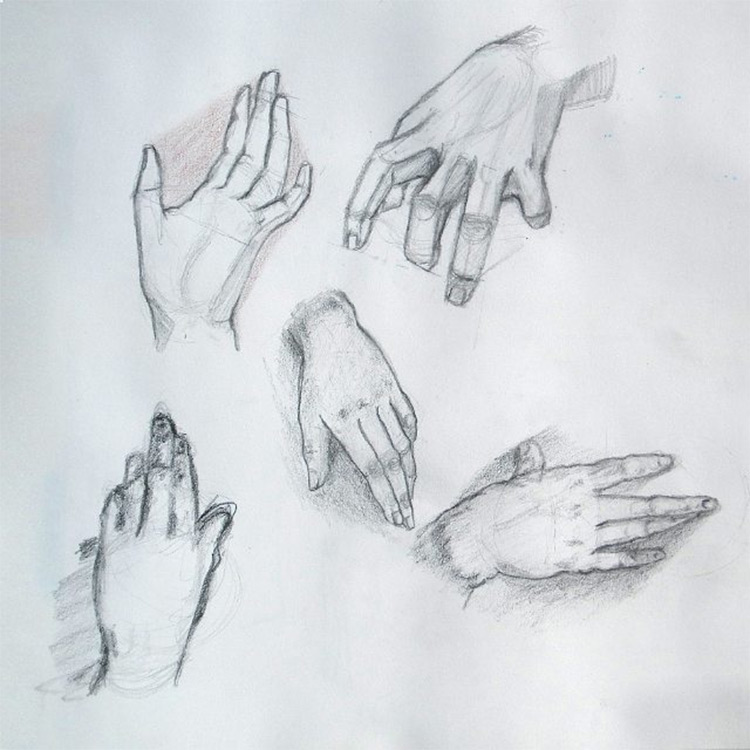 Practice shading hand drawings