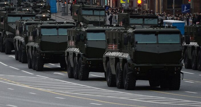 Typhoon-K and Typhoon-U armored vehicles with enhanced protection, and other military equipment are on Tverskaya Square in Moscow